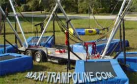 TRAILER BUNGEE TRAMPOLINE MOBILE by MAXI-TRAMPOLINE.com Leader in design and production of amusement sports attractions, recreation rides and Fun sport games like the BUNGEE TRAMPOLINE, bungy trampoline, 1in1 4in1 5in1 6in1 SALTO Trampolino, fix stationary portable and mobile bungee trampoline on trailer, ELASTIC jump 1 way 2 ways 4 ways 5 ways 6ways, aerojump, 4-in-1 eurobungy trampoline, trailer CLIMBING walls, COMBO jumping and climbing wall 2 bays 3bays 4 bays, Funball Shootair compressed air cannons ball from 1 to 30 cannons, Playgrounds, Bobsleigh Roller Coaster, Rodeo mechanic bull and horse, Aero spaces bikes, bungy jumping, Sling Shot, play grounds, aerotrim gyroscope, extreme Fun rides, foam air cannon ball game, inflatable thing, Leisure theme ATTRACTIONS and AMUSEMENT Parks CONSULTING… and more products and services - WEB SITE: www.maxi-trampoline.com - CONTACT EMAIL: infogames@maxi-trampoline.com